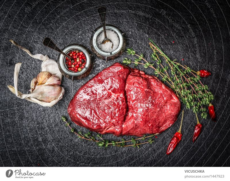 Raw meat steak and ingredients for tasty cuisine Food Meat Herbs and spices Nutrition Lunch Dinner Buffet Brunch Business lunch Picnic Organic produce Bowl