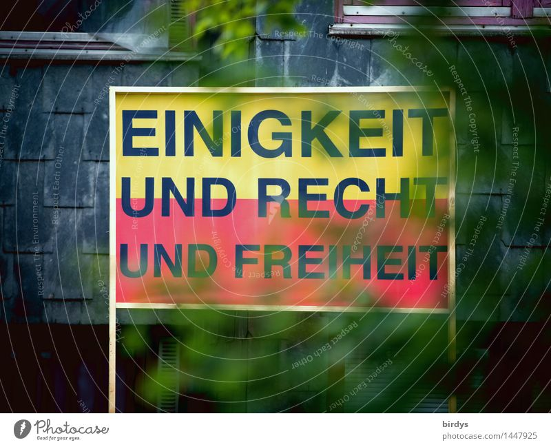 City Tree Red Leaf Black Yellow Exceptional Freedom Germany Facade Signs and labeling Characters Hope Historic Target