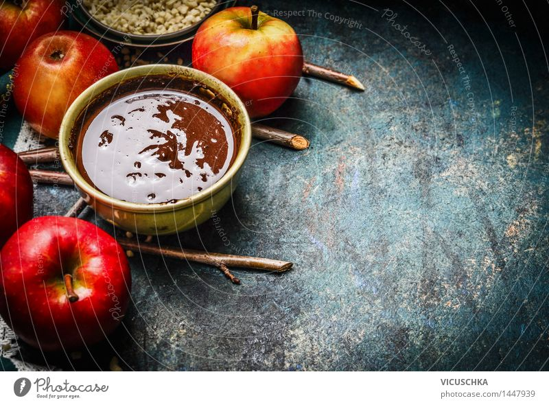 Hot chocolate and red apples with twigs Food Fruit Dessert Candy Nutrition Banquet Organic produce Hot Chocolate Bowl Style Design Joy Life Living or residing