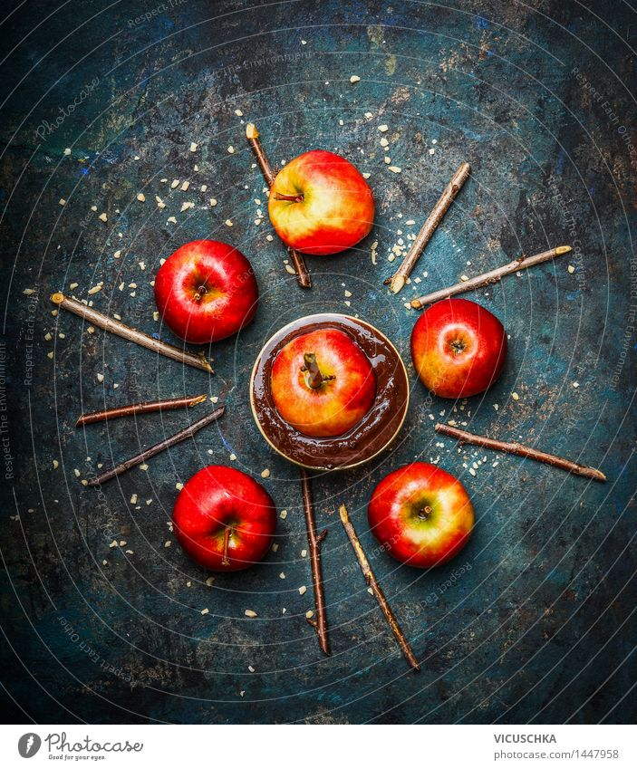 Red apples with chocolate and chopped almonds Food Apple Dessert Candy Chocolate Nutrition Banquet Bowl Style Design Life Living or residing Table Kitchen