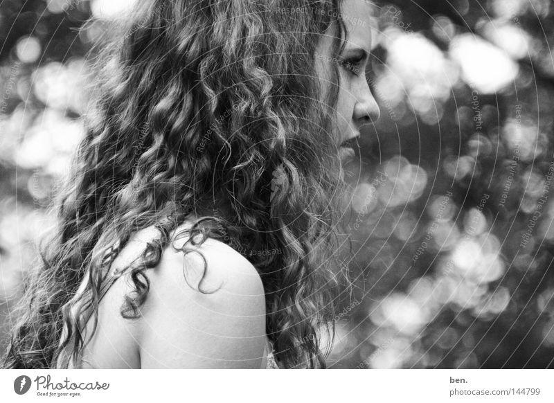 Eden Portrait photograph Youth (Young adults) Paradise Mount Eden Curl Lure Light Blur Black & white photo Alluring