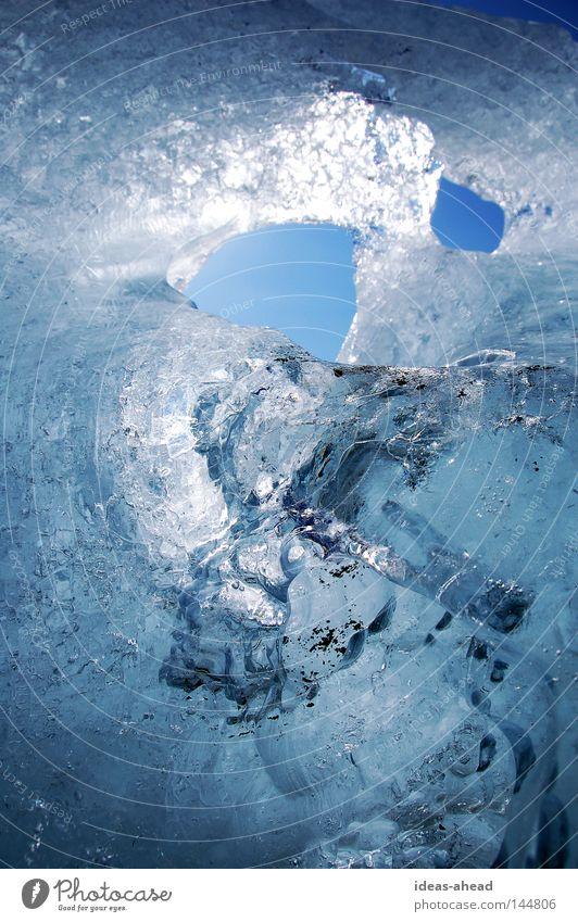 Ice of Iceland Express train Blue Sun Reflection Frozen Jökulsárlón Ice floe Cold Progress Hollow Winter Real estate