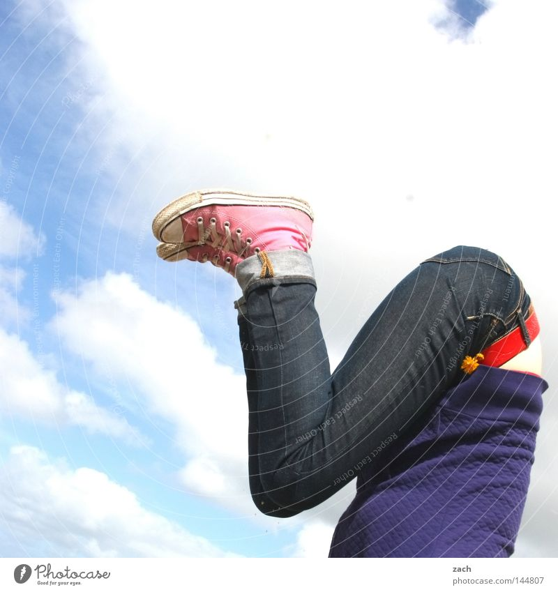Woman Sky Joy Playing Legs Feet Legs Bottom Hind quarters Athletic Headless Crooked Go crazy