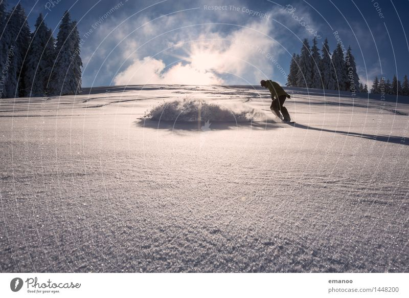 Powder Turn Lifestyle Style Joy Vacation & Travel Freedom Winter Snow Winter vacation Mountain Sports Winter sports Snowboard Ski run Human being Man Adults 1