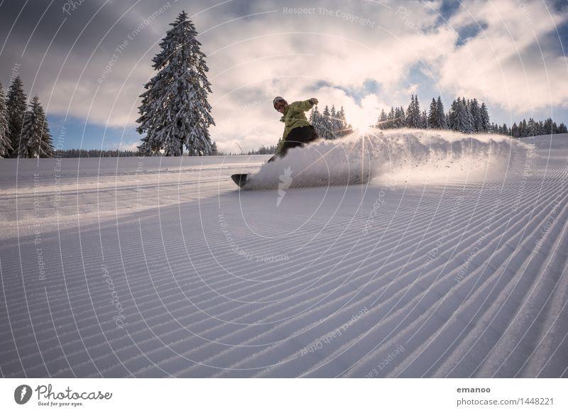 snow brake Lifestyle Style Joy Vacation & Travel Winter Snow Winter vacation Sports Winter sports Sportsperson Snowboard Ski run Human being Man Adults 1 Forest