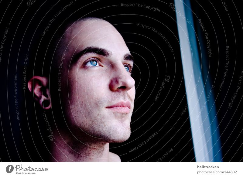 Man Beautiful Blue Face Eyes Dark Portrait photograph Peace Facial expression