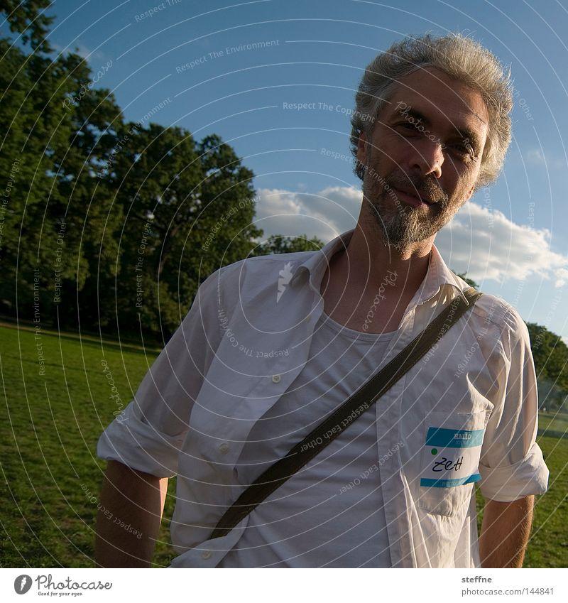 Man Green Blue Laughter Park Portrait photograph Shirt Clothing Congenial