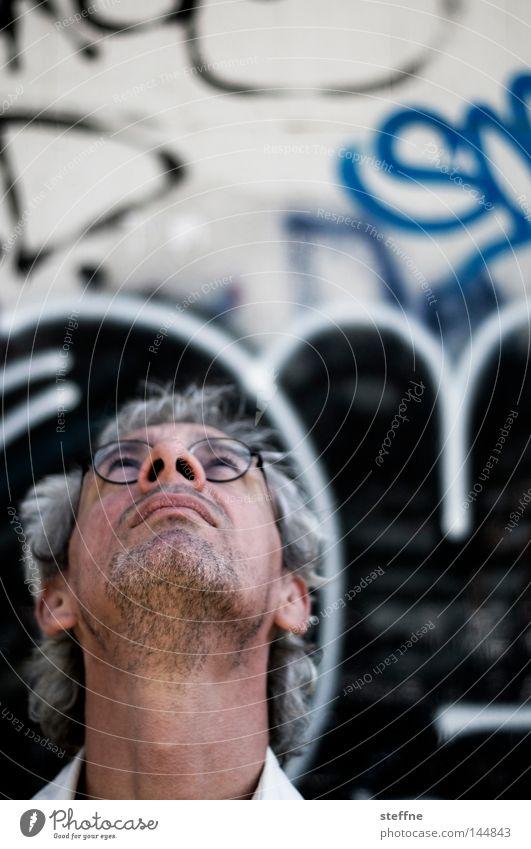motif search Portrait photograph Head Face Looking Wall (building) Graffiti Eyeglasses Designer stubble Search Man la chamandu time2share Upward