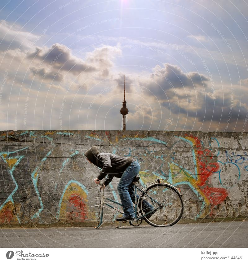 Human being Man Vacation & Travel Berlin Wall (barrier) Art Contentment Bicycle City Walking Poverty Speed Crazy Broken Cool (slang) Tower