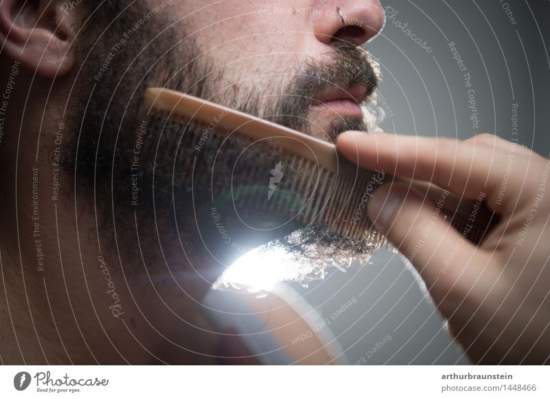 Combing the full beard Personal hygiene Body Hair and hairstyles Face Shave Hairdresser Human being Masculine Young man Youth (Young adults) Adults Life