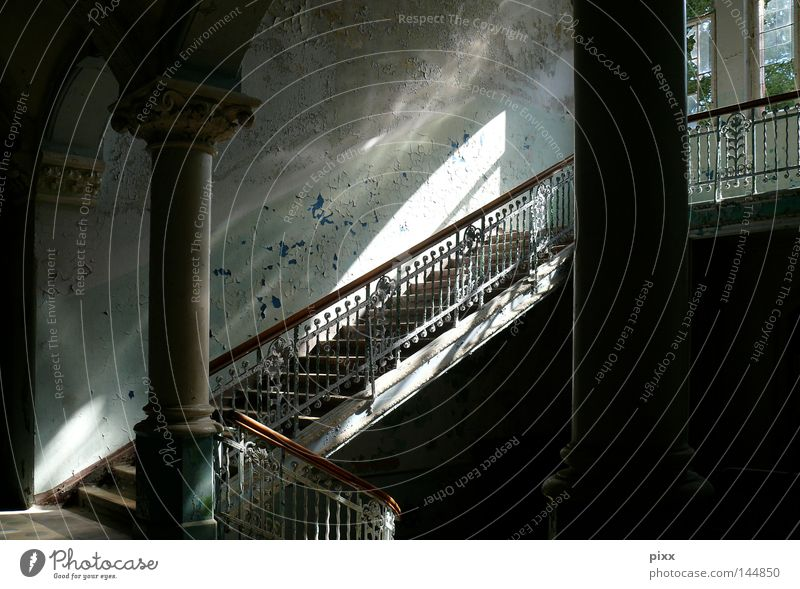 Old Colour Wall (barrier) Building Room Architecture Stairs Derelict Story Historic Hallway Column Archway Eerie