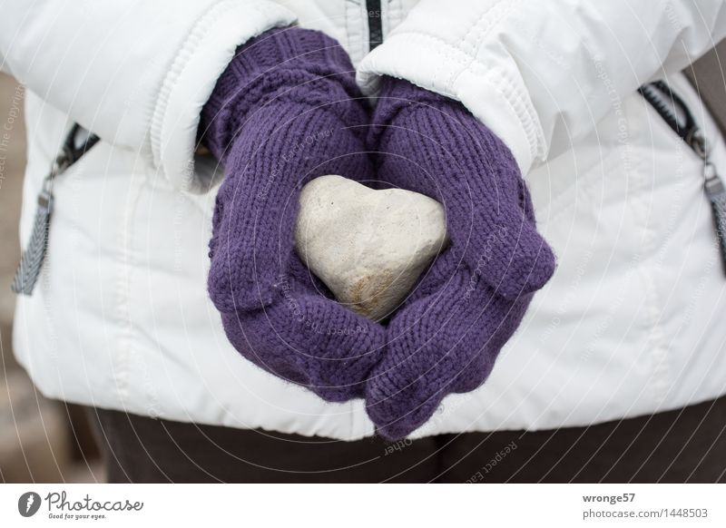 lost property Human being Feminine Woman Adults Female senior 1 Gloves Stone Heart Firm Cold Violet Black White Hard Heart-shaped Discovery Fantastic Indicate