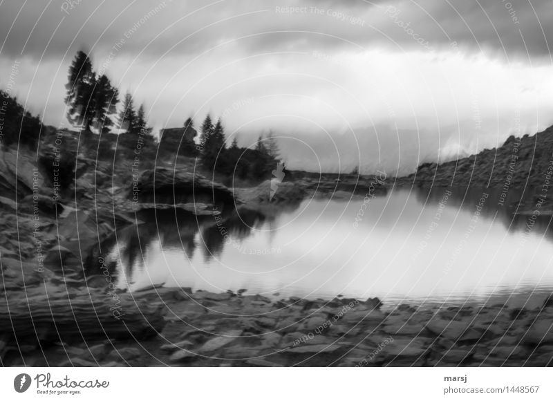 Mirror lake without Dachstein Nature Clouds Storm clouds Bad weather Lake Mirror Lake Mountain lake Exceptional Threat Dark Creepy Cold Trashy Sadness Grief