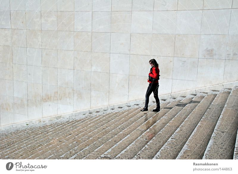 Woman Loneliness Wall (barrier) Going Wet Sit Stairs Paris Red-haired