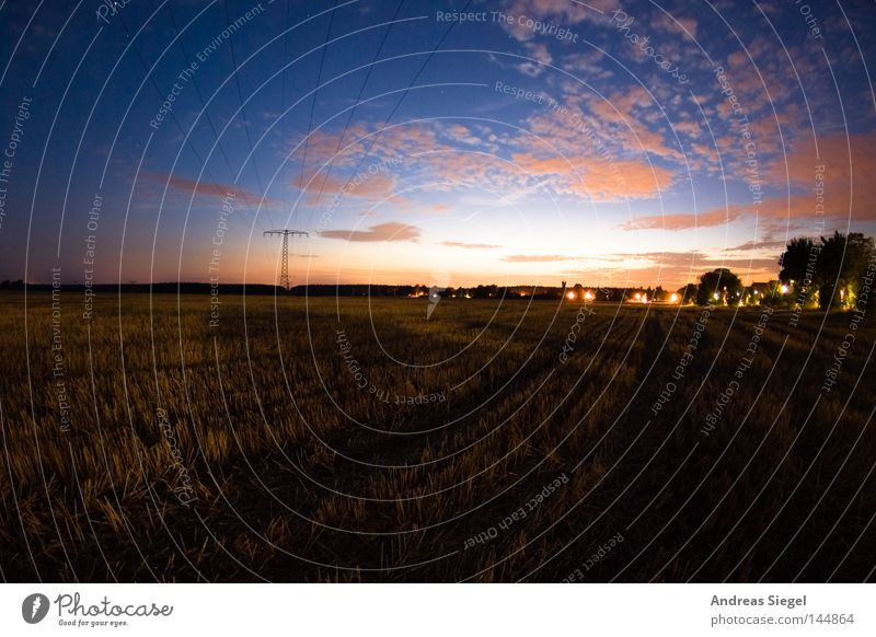 parted Field Stubble field Agriculture Evening Night Dusk Agricultural crop Long exposure Fisheye Clouds Sky Red Blue Shadow Sunset Twilight