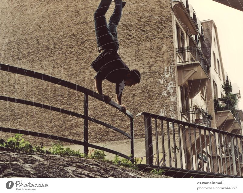 strong enough. Go crazy Support Block House (Residential Structure) Gymnastics Gloomy Power Handstand To hold on Town Balcony Human being Head over heels Crazy