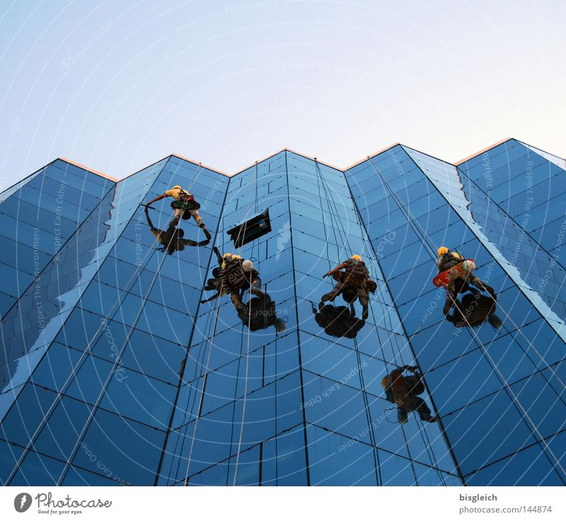 Windowcleaner Colour photo Exterior shot Copy Space top Reflection Worm's-eye view House (Residential Structure) Climbing Mountaineering Work and employment