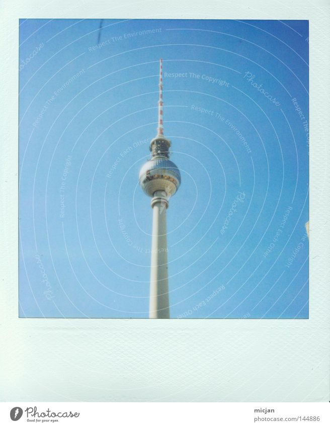 La Chamando Tower Berlin TV Tower Television tower Blue Photography Polaroid Analog Picture frame Point Tall Upward House (Residential Structure) Building