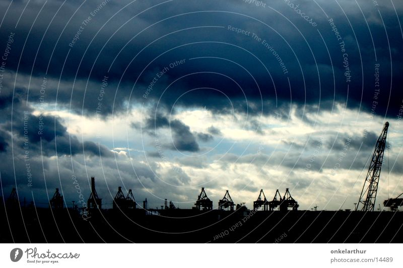 container port Clouds Dark Hamburg Elbe Harbour Sky Industrial Photography