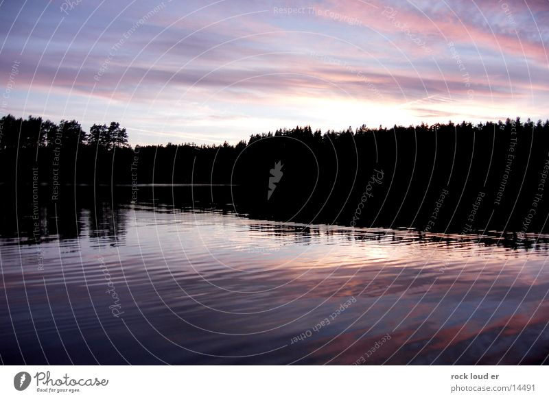 Water Sky Black Clouds Forest Lake Mystic Dusk Norway Magenta Play of colours