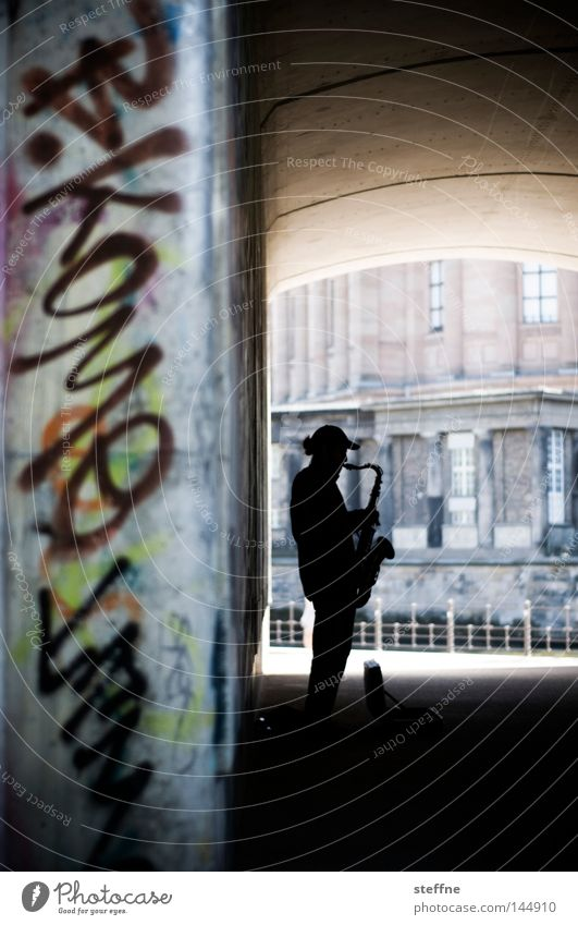 SAX off the BEACH Saxophone Music Musician Busker Underpass Bridge Graffiti Joy Concert Man Musicians & Bands & Composers