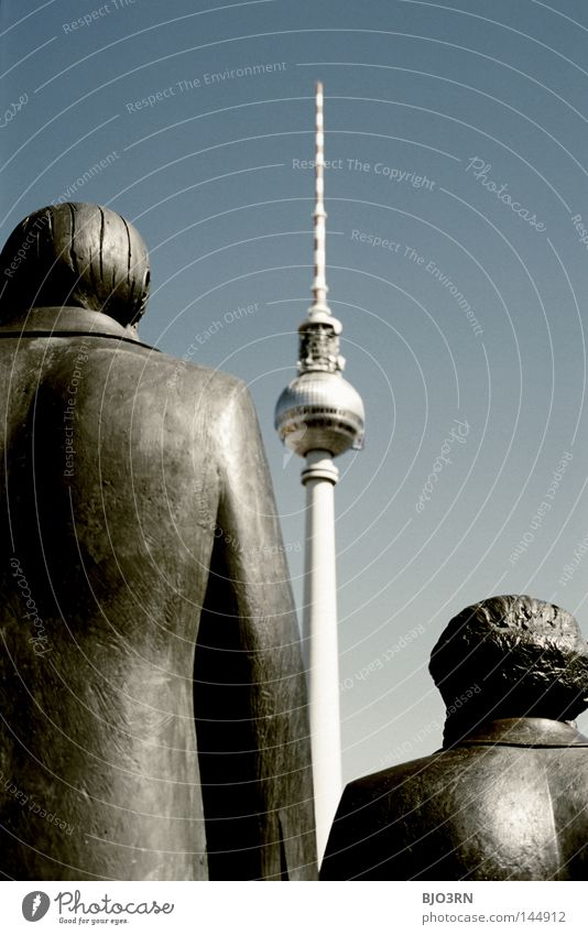 trio Tower Berlin History book Appearance Vantage point Blue Politics and state Exterior shot Trip Germany Berlin TV Tower Television tower Communism Left