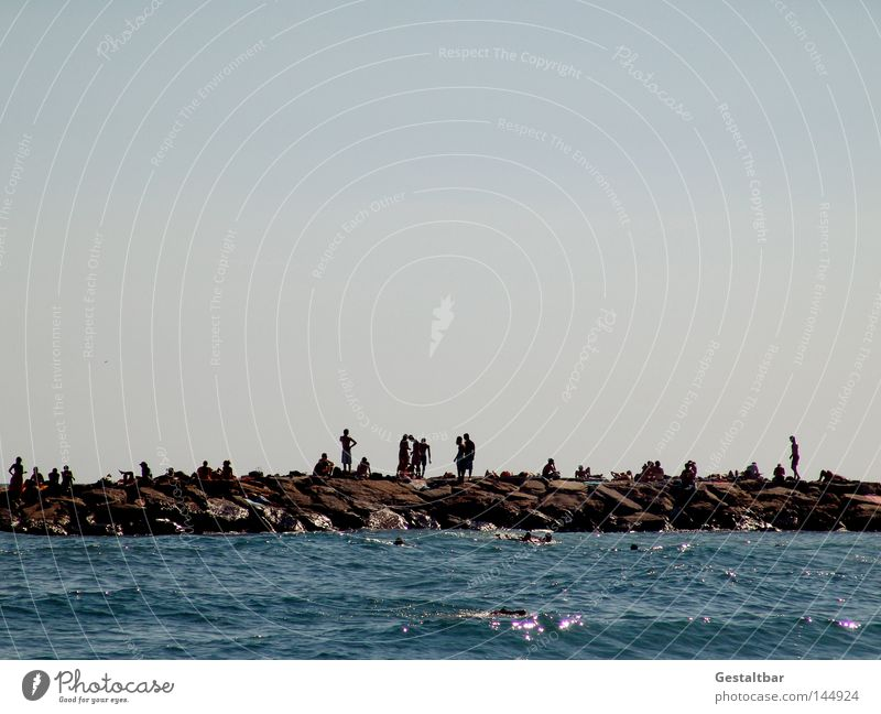 Stroll mile II Ocean Italy Waves Swell Surfing Tourist Tourism Relaxation To enjoy Foam White crest Inject Sea water Color gradient Physics Hot Summer