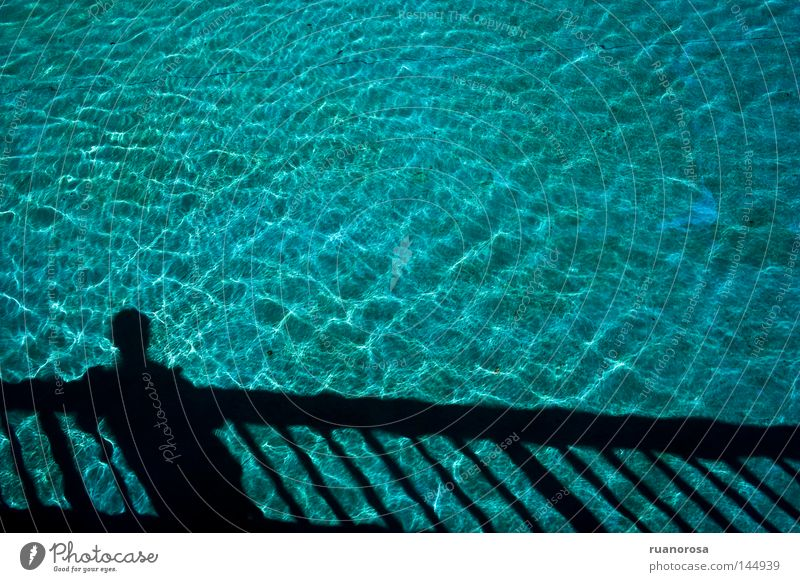 Human being Man Blue Water Summer Bridge Swimming pool Serene Banister Refreshment Pond Calm Fountain Water fountain Well Former