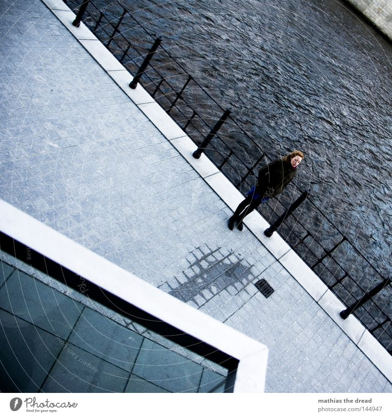 Woman Water Beautiful Winter Autumn Architecture Gray Weather Wind Wait Stand Corner River Individual Handrail Diagonal