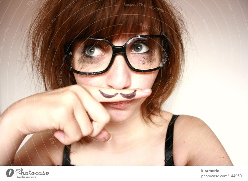Human being Humor Fingers Eyeglasses Facial hair Make-up Cosmetics Freak Anonymous Foreign Red-haired Sheepish Irony