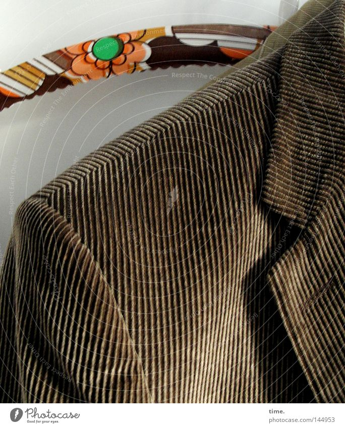 Brown Clothing Arrangement Stripe Suit Jacket Hang Noble Striped Partially visible Section of image Stitching Reliability Collar Hanger Groove