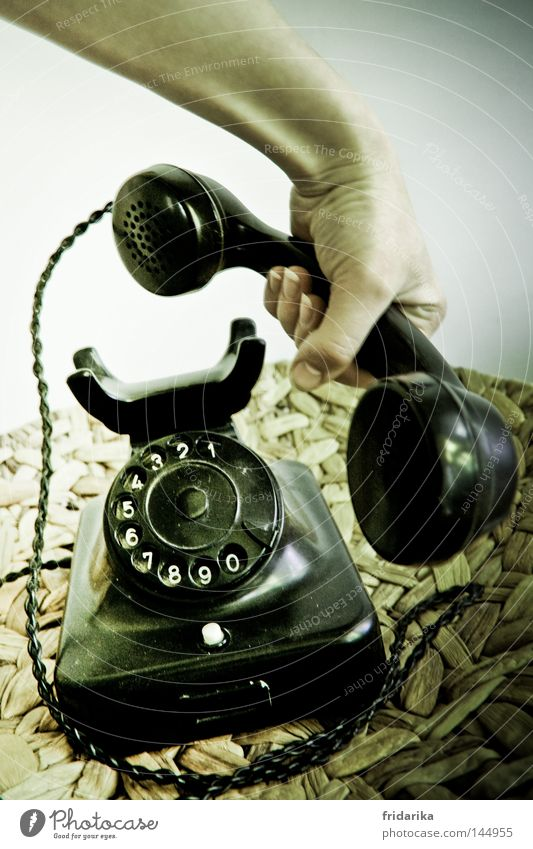call III Telecommunications To talk Telephone Hand Plastic Digits and numbers Old Listening Communicate Lie To call someone (telephone) Black White Mobility