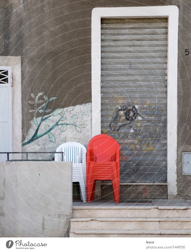 White Red Loneliness Gray 2 Door Chair Italy Statue Furniture Stack Armchair Mural painting