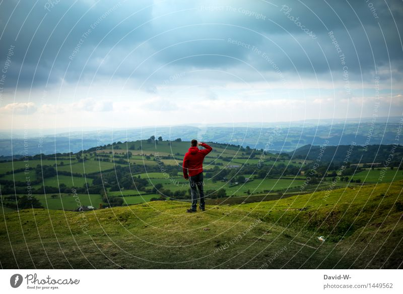 Human being Nature Vacation & Travel Youth (Young adults) Man Young man Landscape Calm Far-off places Mountain Adults Environment Life Autumn Meadow Freedom