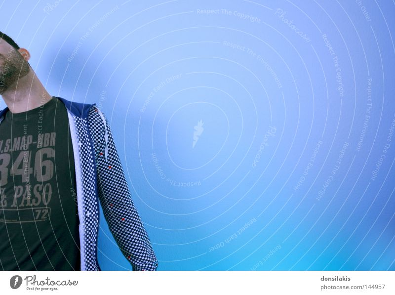 Human being Man Youth (Young adults) Blue Colour Wall (building) Freedom Dream Contentment Free Facial hair Hide Checkered Neck Self portrait