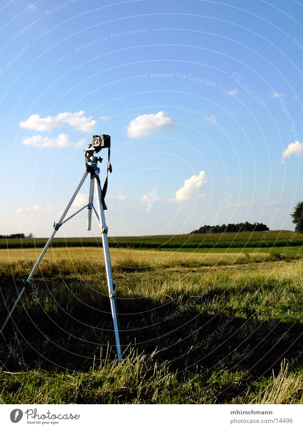 tripod in the landscape Take a photo Photography Panorama (View) Tripod Clouds Field Tree Forest Summer Entertainment Sky away field Large