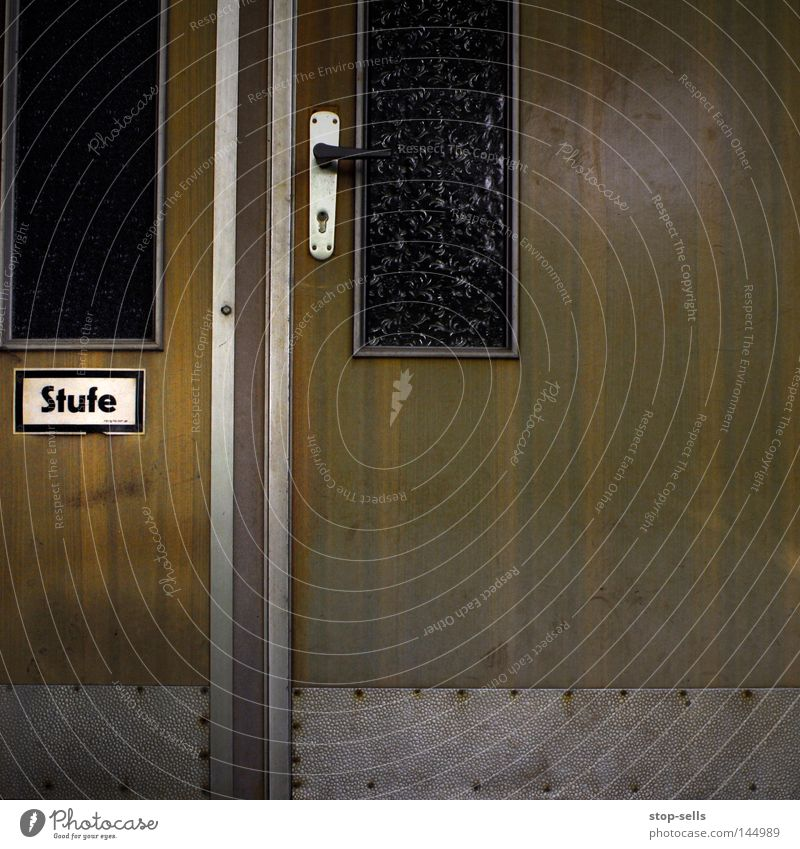 Wood Glass Door Stairs Information Mask Signage Upward Word Window pane Respect Door handle Downward Warning label Go up