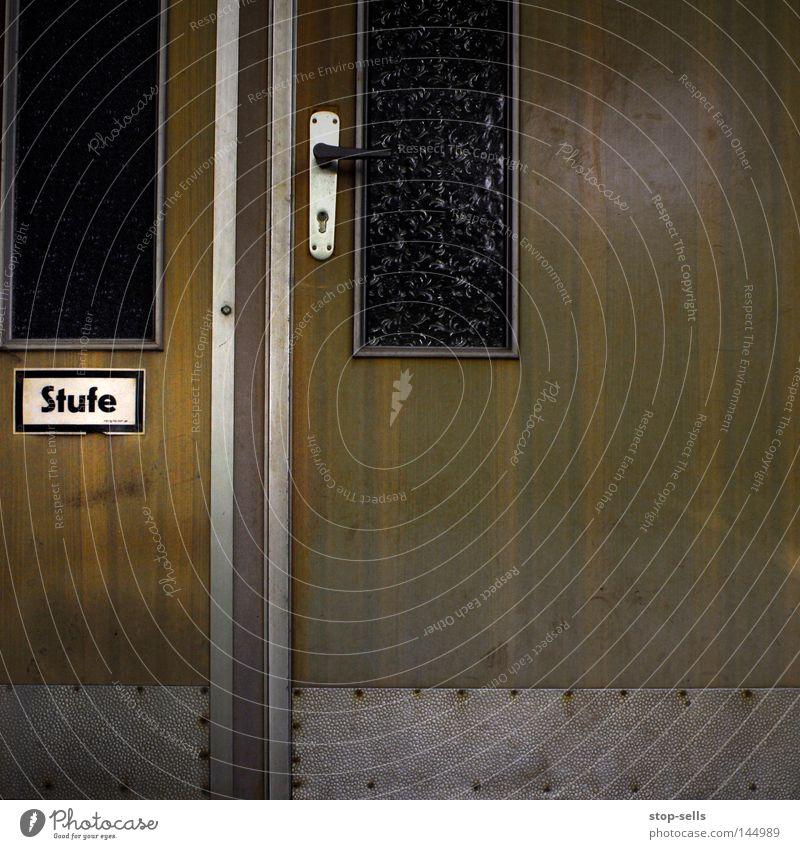 Wood Glass Door Stairs Information Mask Signage Upward Word Window pane Respect Door handle Downward Warning label Go up