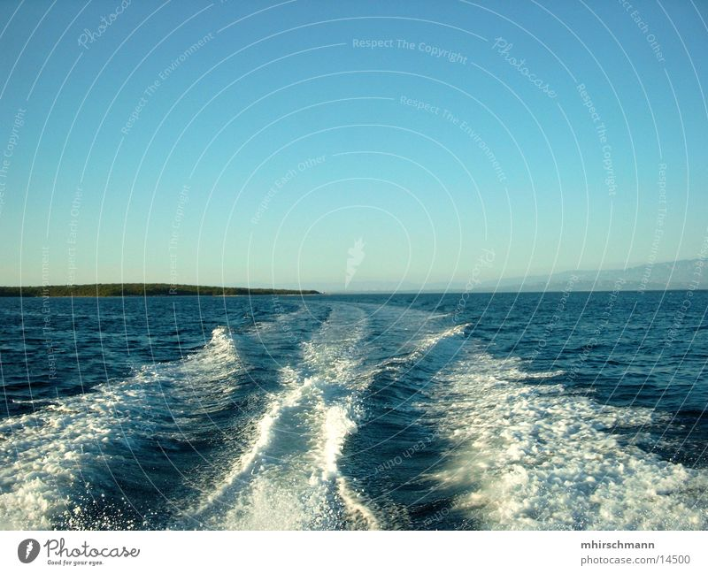 Water Sky Ocean Vacation & Travel Relaxation Watercraft Waves Tracks Navigation Croatia White crest Adriatic Sea Navigable water