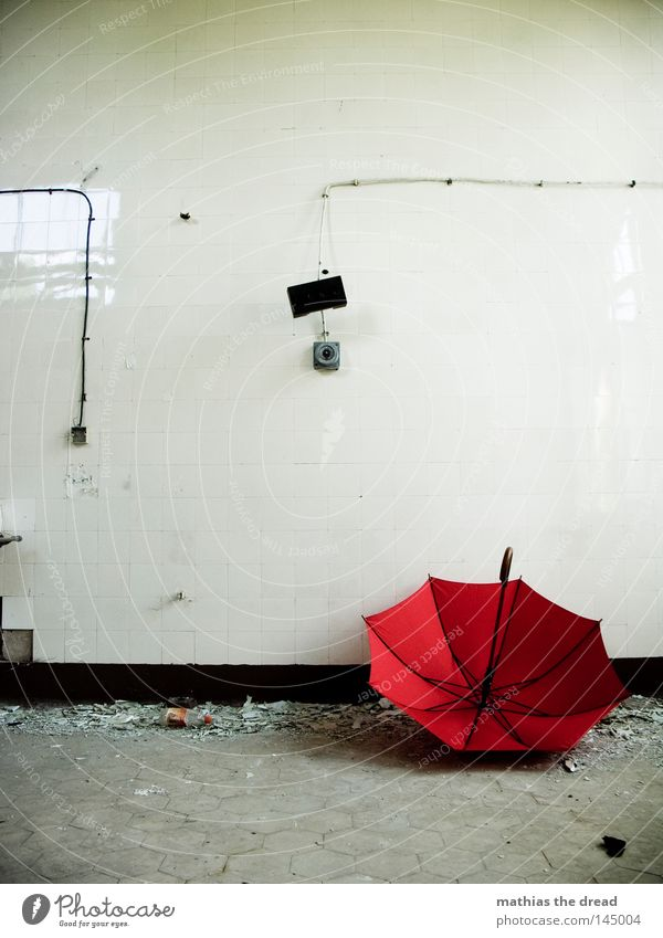 THE SUMMER IS OVER Umbrella Umbrellas & Shades Sunshade Red Things Weather Rain Wet Physics Damp Forget Loneliness Door Motionless Death Deserted Door handle