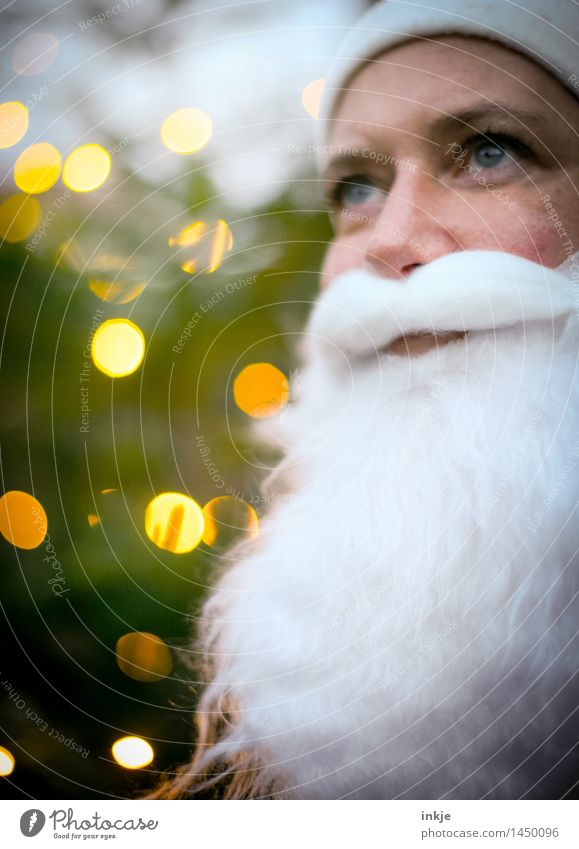 Santa Claus Christmas & Advent Face Facial hair 1 Human being Beard Blur Point of light Smiling Looking Friendliness Emotions Moody Anticipation Optimism