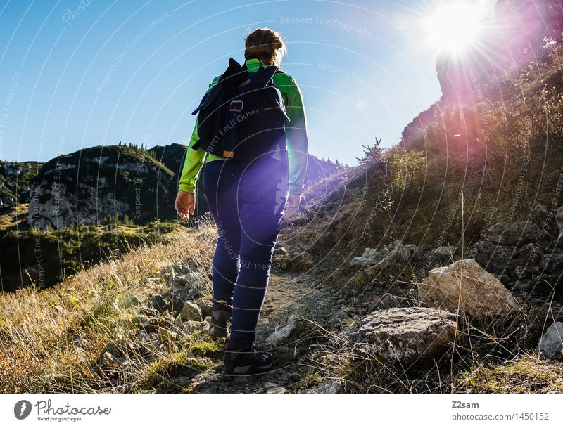 versed Leisure and hobbies Mountain Hiking Feminine 1 Human being 18 - 30 years Youth (Young adults) Adults Cloudless sky Autumn Bushes Rock Alps Pants Jacket