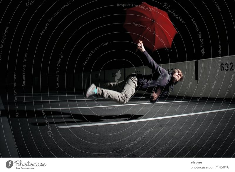 """<FONT COLOR=""""#FFFF00"""">-==- PROUDLY PRESENTS Weightlessness Hover Night Dark Human being Man Sunshade Umbrella Umbrellas & Shades Red Playing"""
