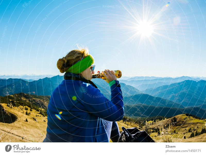 Sky Nature Vacation & Travel Youth (Young adults) Young woman Sun Relaxation Landscape Mountain Adults Autumn Feminine Happy Contentment Leisure and hobbies