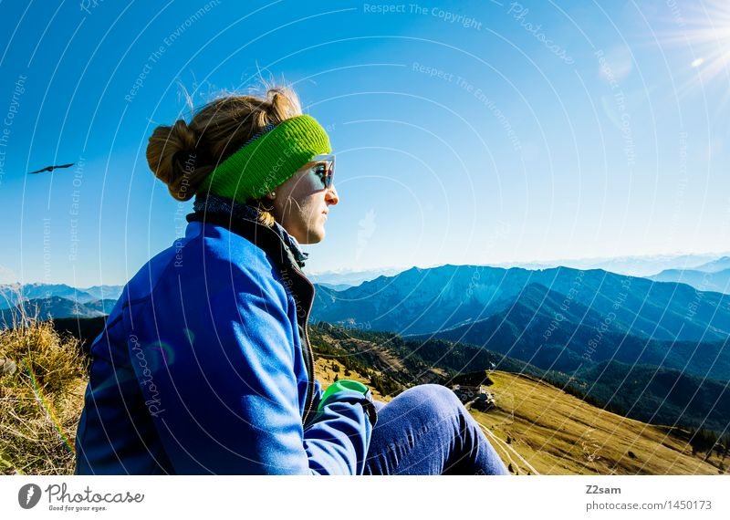 That's the top! Leisure and hobbies Mountain Hiking Feminine 1 Human being 18 - 30 years Youth (Young adults) Adults Bushes Alps Peak Jacket Sunglasses Headband