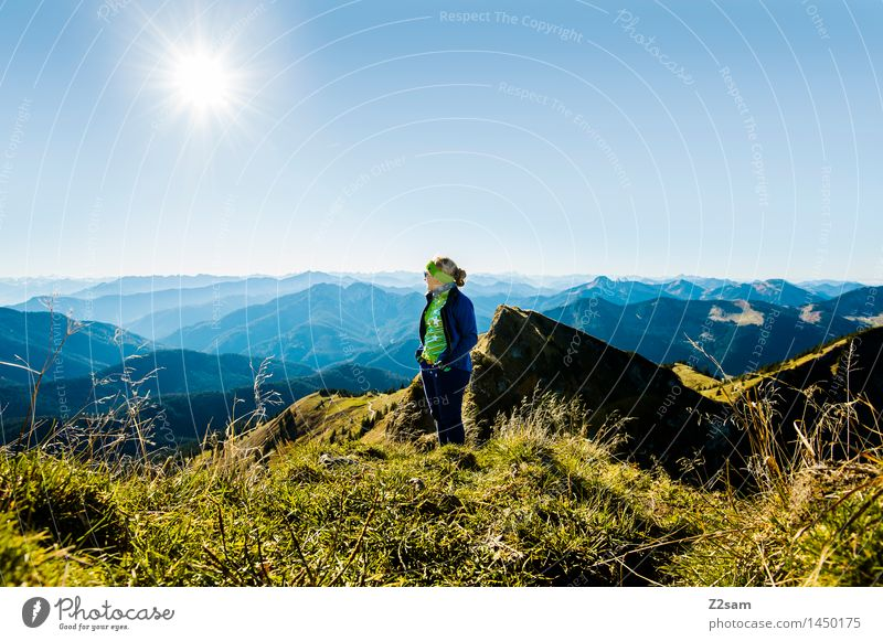 Sky Nature Youth (Young adults) Blue Green Young woman Sun Relaxation Landscape Mountain Adults Autumn Feminine Lifestyle Think Freedom