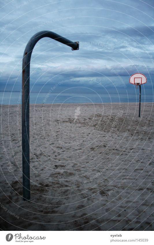 Just half the fun Playing Beach Lake Ocean Coast Pillar Basket Gravel Sandy beach Clouds Evening sun Dusk Half Lack Broken Loneliness Empty Late Footprint Field