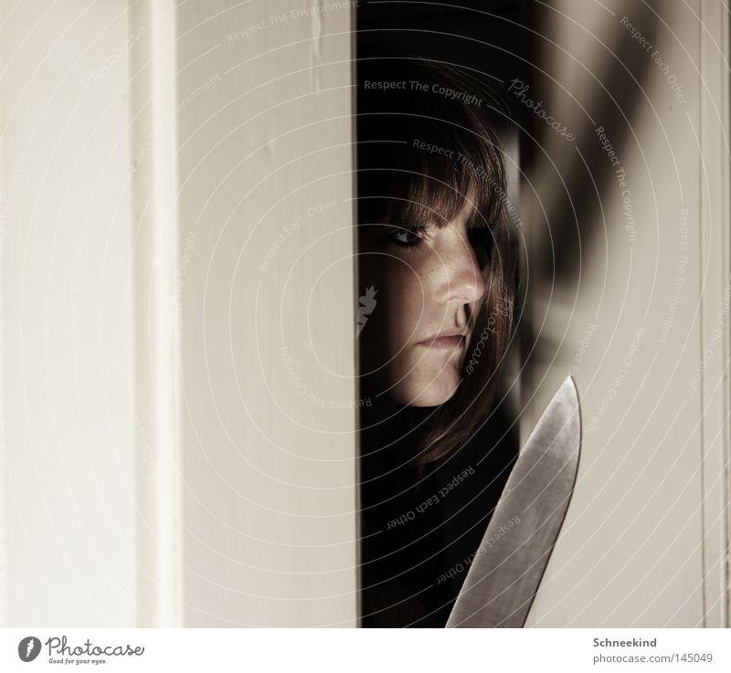 Woman Face Death Mouth Fear Wait Door Nose Large Dangerous Threat Creepy Hide Silver Fear of death Panic