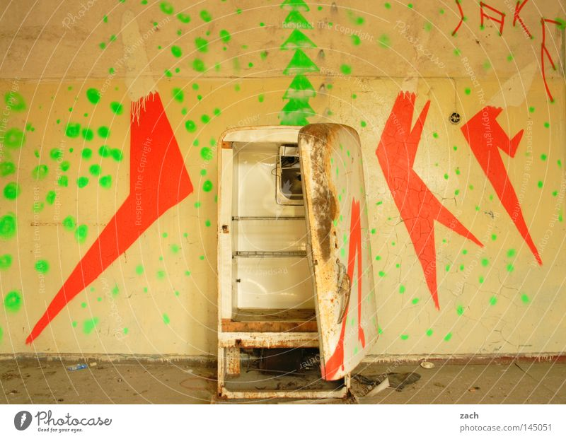 Old Graffiti Empty Technology Putrefy Sign Derelict Rust Symbols and metaphors Ruin Ancient Cooling Second-hand Icebox Rustic