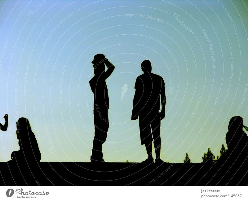 to raise one's hat Joy Relaxation Masculine Friendship Group Cloudless sky Warmth Treptow Park Derby Communicate Dark Simple Together Blue Emotions